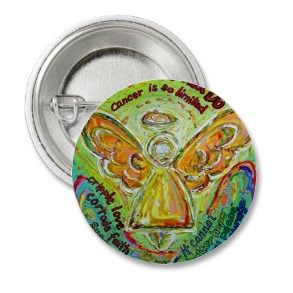 Rainbow Cancer Angel Painting Pins or Buttons