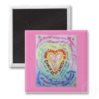 Rainbow Cancer Heart Magnet (Pink)