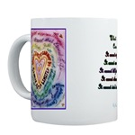 Rainbow Cancer Heart Mug (with text)
