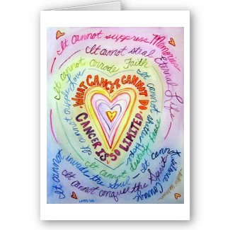 Rainbow Cancer Cannot Do Heart Greeting or Note Card