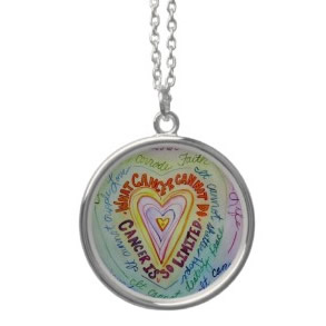 Rainbow Cancer Heart Silver Necklace (Round)
