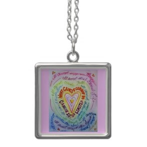 Rainbow Cancer Heart Silver Necklace (Square)