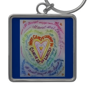 Rainbow What Cancer Cannot Do Heart Keychain (Square)