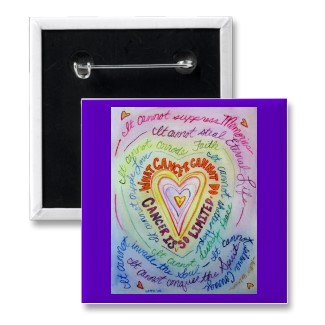 Rainbow Cancer Heart Button (Square)