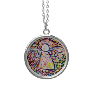 Spring Hearts Angel Cancer Cannot Necklace Pendant Round