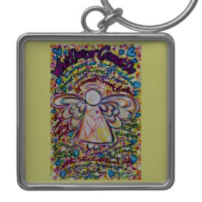Spring Hearts Cancer Cannot Do Angel Keychain Square