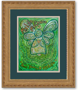 My Life, My Choice Green Cancer Angel Framed Print