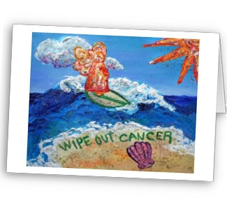 Wipe Out Cancer Angel Greetin Card or Note Cards