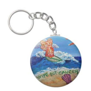 Wipe Out Cancer Angel Keychain Round