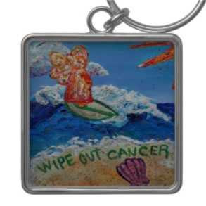 Wipe Out Cancer Angel Key Chain Square