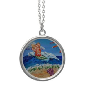 Wipe Out Cancer Angel Silver Necklace Round