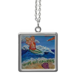 Wipe Out Cancer Angel Silver Necklace Square