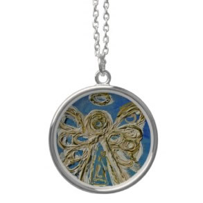 Blue Angel Wings Silver Necklace Charm Pendant necklace