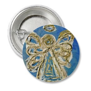 Blue Guardian Angel Buttons, Pins, or Pendants button