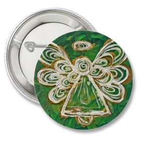 Green Angel Buttons or Pins button