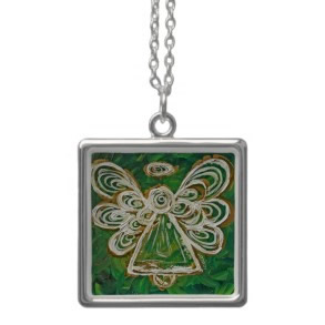 Green Angel Wings Silver Necklace necklace