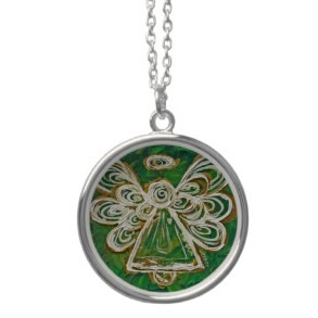 Green Angel Wings Silver Necklace Charm Pendant necklace