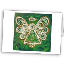 Green Angel Greeting Card card
