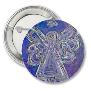 Purple Angel Round Button Pin