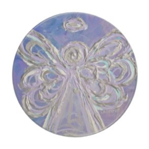 Purple Silver Angel Coaster