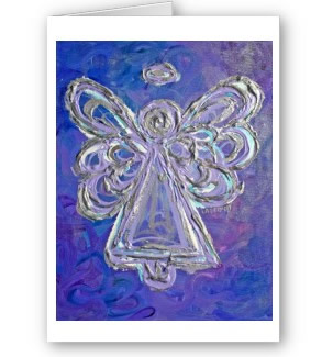 Purple Angel Greeting Cards or Notecard