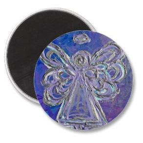 Purple Angel Magnet Round Silver Wings