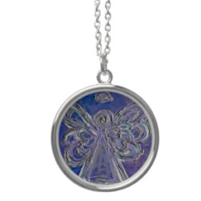 Purple Angel Wings Silver Necklace Round