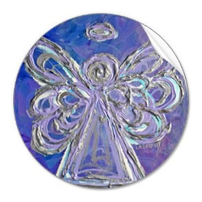 Purple Silver Lavendar Angel Wings Stickers