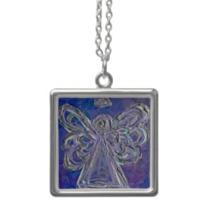 Silver Purple Lavendar Angel Necklace Charm