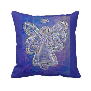 Purple White Silver Angel Decorative Throw Pillow throwpillow