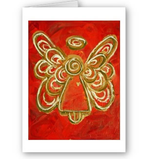 Red Angel Wings Greeting Card or Note Cards