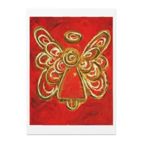 Red Angel Customized Invitation Card or Announcement