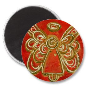 Red Angel Magnet Round