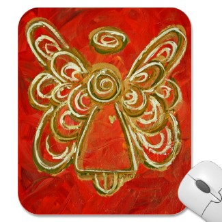 Red Angel Wings Art Mousepad