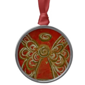 Red Angel Ornament Round