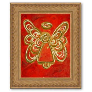 Red Angel Gold Framed Art Poster Print