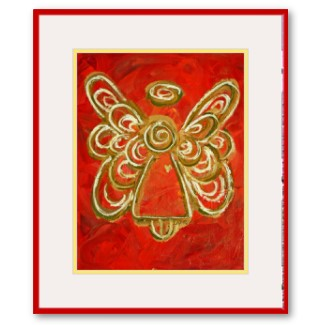 Red Angel Wings Artwork Framed Print with Mat