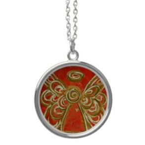 Red Gold Angel Wings Silver Necklace Round