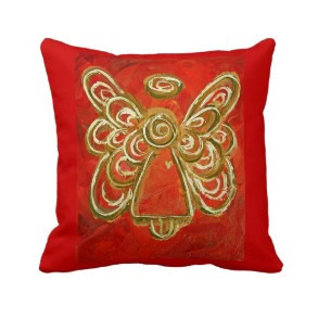 Red, White, Gold Angel Decorative Throw Pillow throwpillow