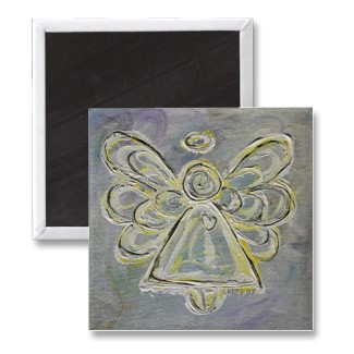 Silver and White Light Angel Magnet magnet