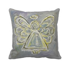 White and silver Angel Decorative Throw Pillow throwpillow