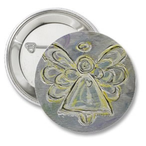 White and Silver Light Angel Button or Pin button