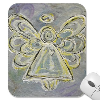 White and Silver Light Guardian Angel Mousepad mousepad