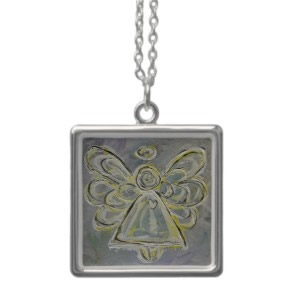 Silver White Ligh Angel Necklace Pendant Charms