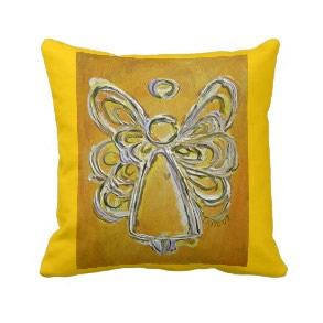 Yellow and White Angel Decorative Throw Pillow throwpillow