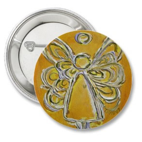 Yellow Angel Buttons or Pins