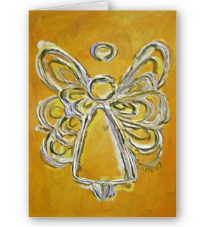 Yellow Angel Artwork Greeting Cards or Note Card Artwork Painting