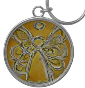 Yellow Angel Keychain Round Large