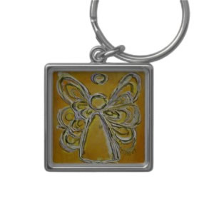 Yellow Angel Wings Keychain Square