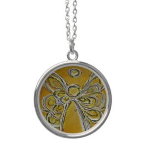 Yellow Angel Wings Silver Necklace Round